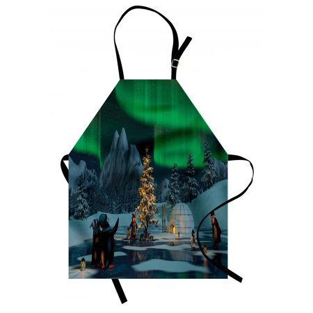 Aurora Borealis Apron Penguins on Frozen Lake with Christmas Tree Noel Arctic Circle Design, Unisex Kitchen Bib Apron with Adjustable Neck for Cooking Baking Gardening, Lime Green Grey, by Ambesonne