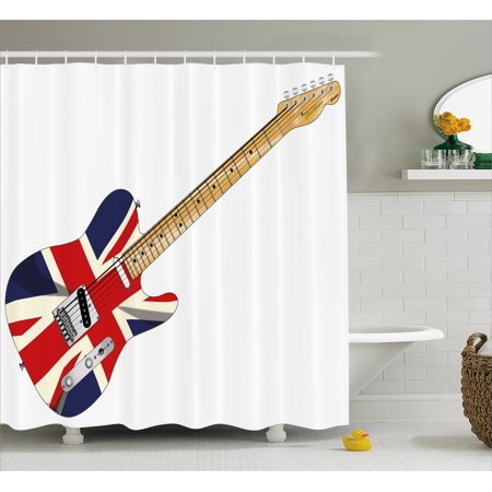 Union Jack Shower Curtain, Classical Electric Guitar UK Flag Great ...