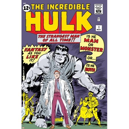 Marvel Comics Retro: The Incredible Hulk Comic Book Cover No.1, with Bruce Banner Print - Comic Book Banner