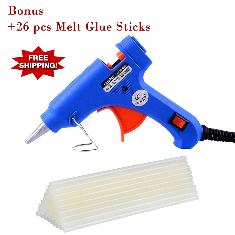 Mini Hot Glue Gun with 26 pcs Melt Glue Sticks for DIY Craft Projects and Quick Repairs, Ohuhu Fast Ship