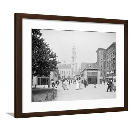Park Street Church and Tremont Street Mall, Boston, Massachusetts, C.1906 Framed Print Wall (Boston Shopping Mall)