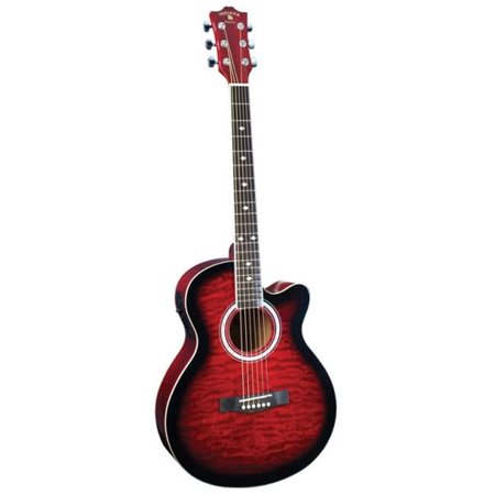 Madison Deluxe Quilt Acoustic Electric Guitar, (Crimson Deluxe Guitar)