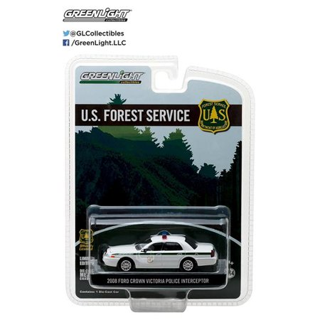 Ford Crown Victoria Town Car (2008 Ford Crown Victoria Police Interceptor Forest Service (USFS) Hobby Exclusive 1/64 Diecast Model Car by Greenlight)
