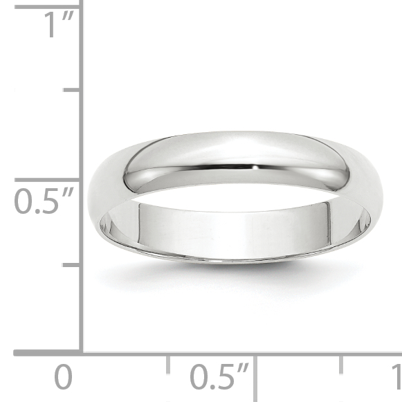 10K White Gold 4mm Light Weight Half Round Band Size 12.5 - image 2 of 3