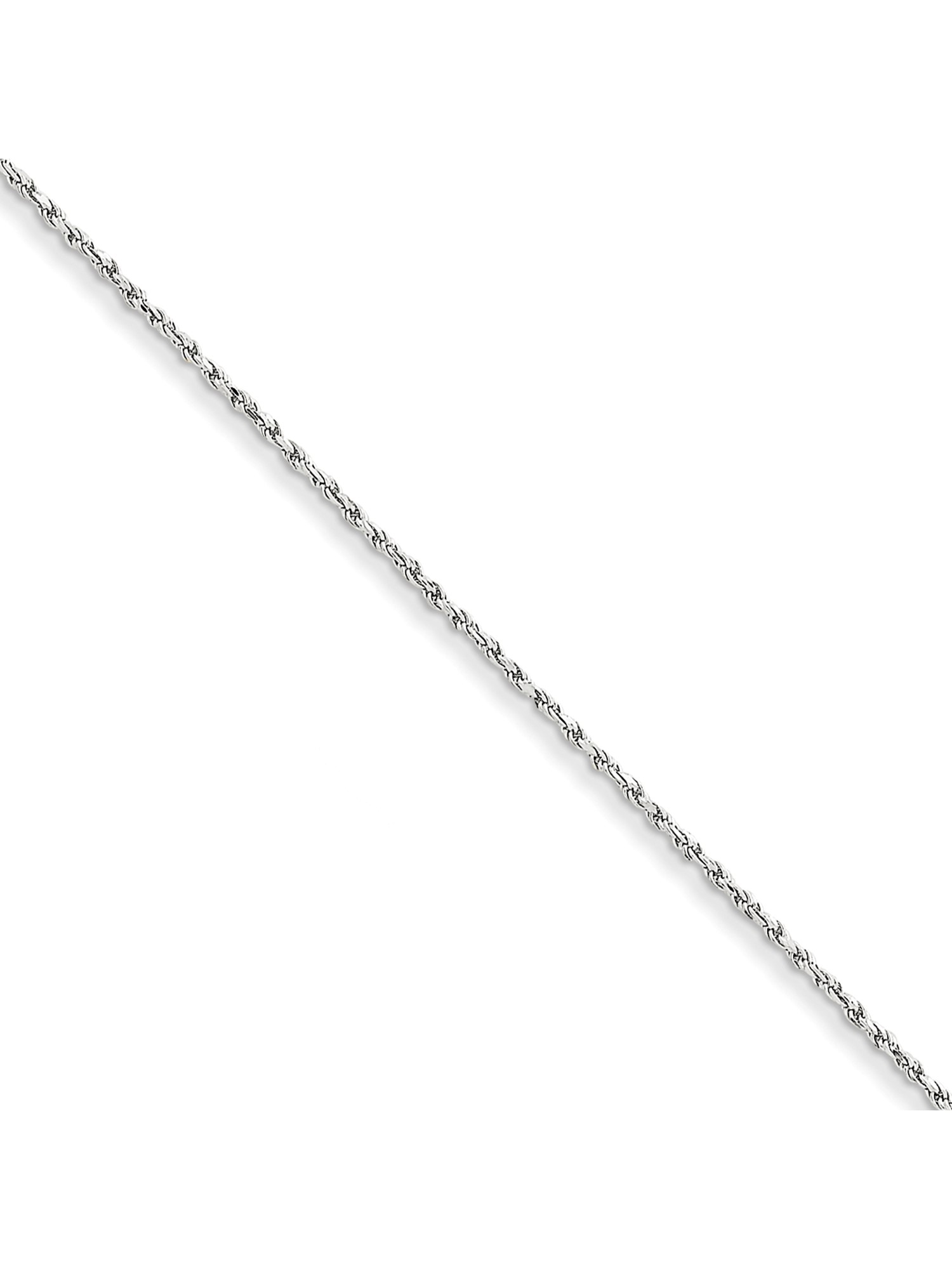 Solid 14k White Gold 1.30mm Machine made Rope Bracelet Fine Jewelry Ideal Gifts For Women
