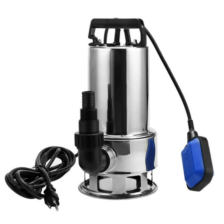 1.5 HP Stainless Steel Submersible Water Pump Sump Pump Dirty Clean Water Pump w/ 15ft Cable and Float (Best Water Powered Backup Sump Pump)