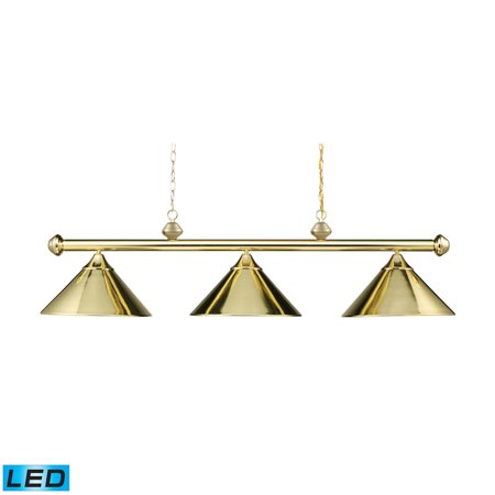 Casual Traditions Billiard Light (Landmark Lighting Casual Traditions 168-PB-LED 3-Light Billiard/Island in Polished Brass w/ Metal Shades - LED - 800)