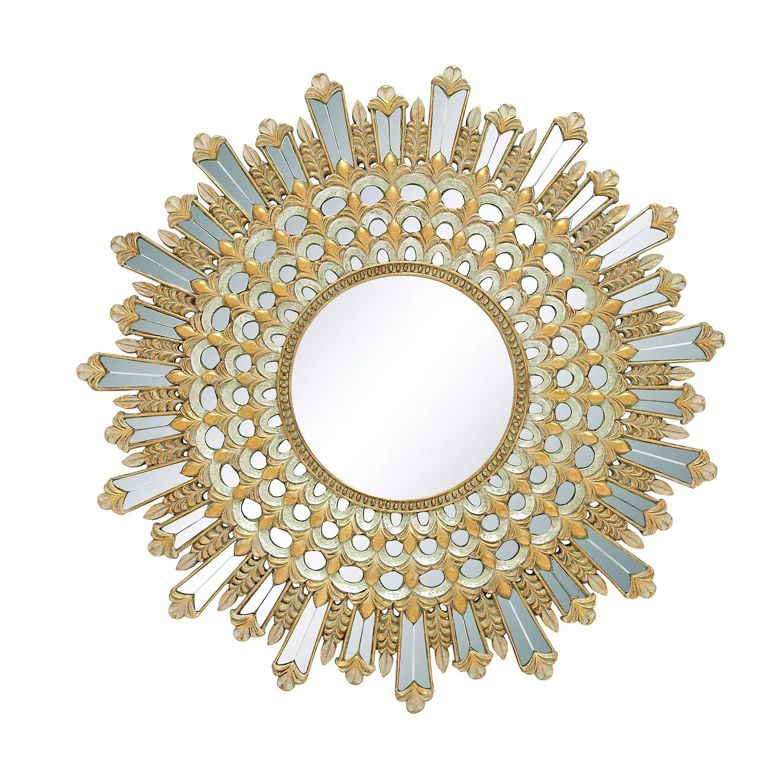Benzara Elegant Sun Shaped Golden Wall Mirror - 32 diam. in.