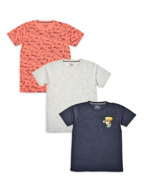 Jachs Boys Printed & Solid Short Sleeve T-Shirt 3 Pack Sizes 4-16