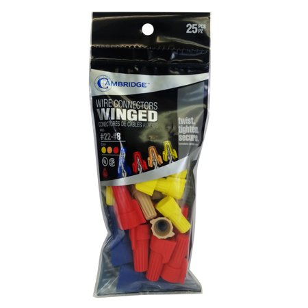 Cambridge Winged Wire Connectors 25 Pcs Assortment #22-#8 AWG- 8 red, 8 Yellow, 7 Tan, 2 Blue. UL