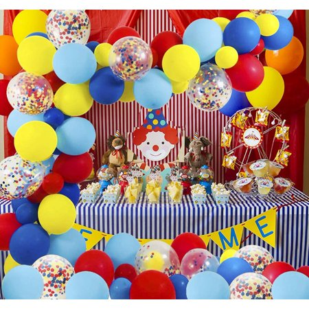 Circus Party Supplies Balloons Arch Kit - 10 Pack Latex Balloons Confetti  Balloon Garland Strip Set for Baby Shower, Paw Birthday Party, Carnival