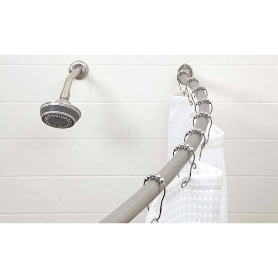 Bath Bliss Curved Shower Rod, Satin Nickel Finish - Walmart.com