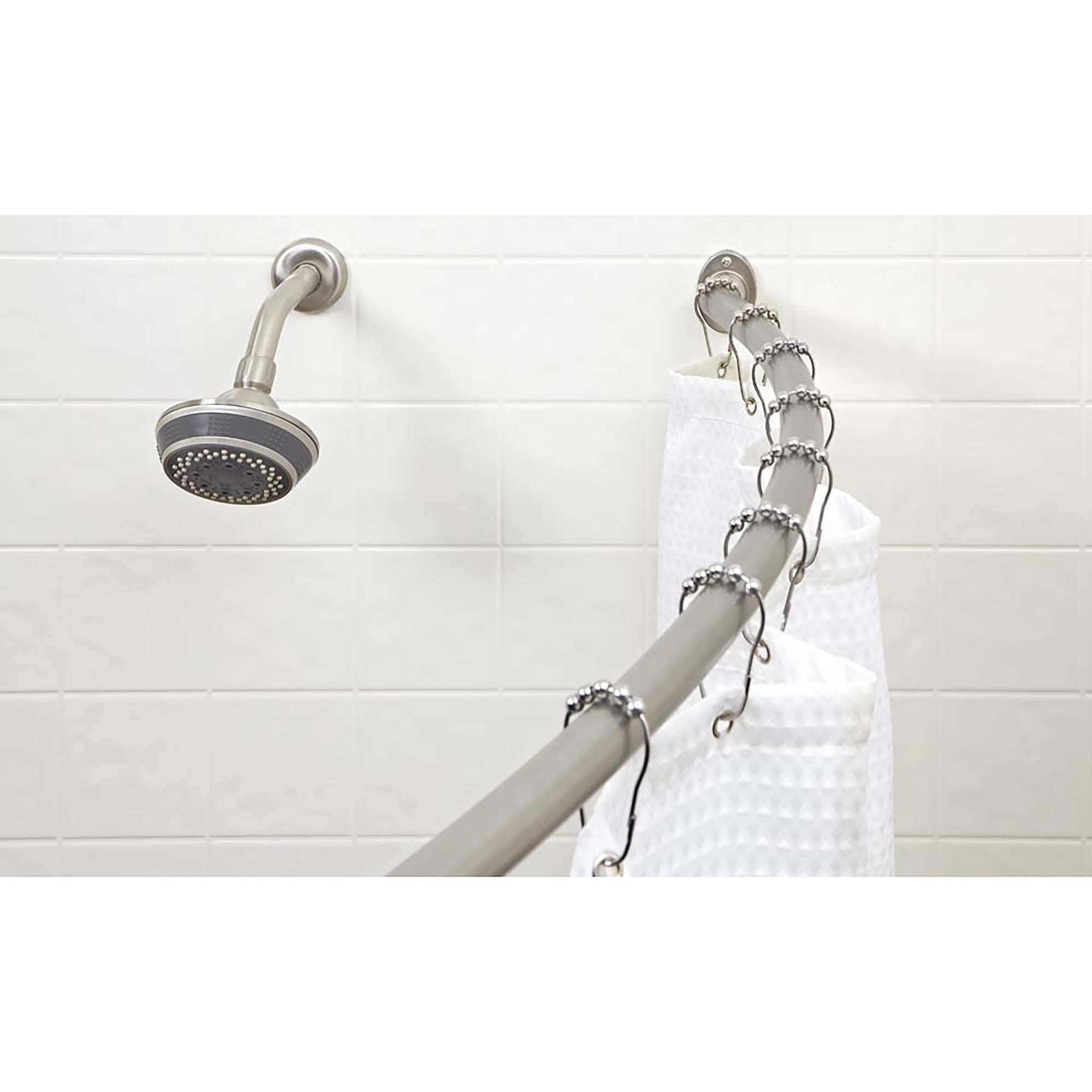 Bath Bliss Curved Shower Rod, Satin Nickel Finish