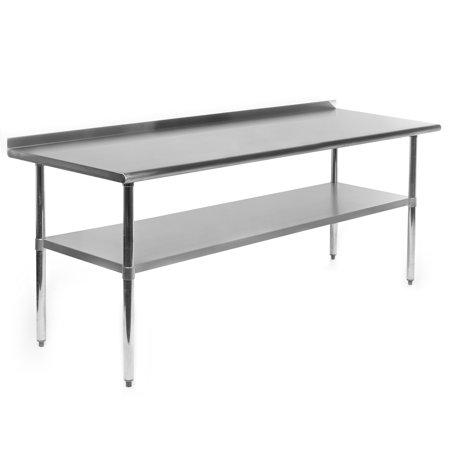 "Gridmann NSF Stainless Steel Commercial Kitchen Prep & Work Table w/ Backsplash - Multiple Sizes Available - 30"" 36"" 48"" 60"" 72"" 96"""