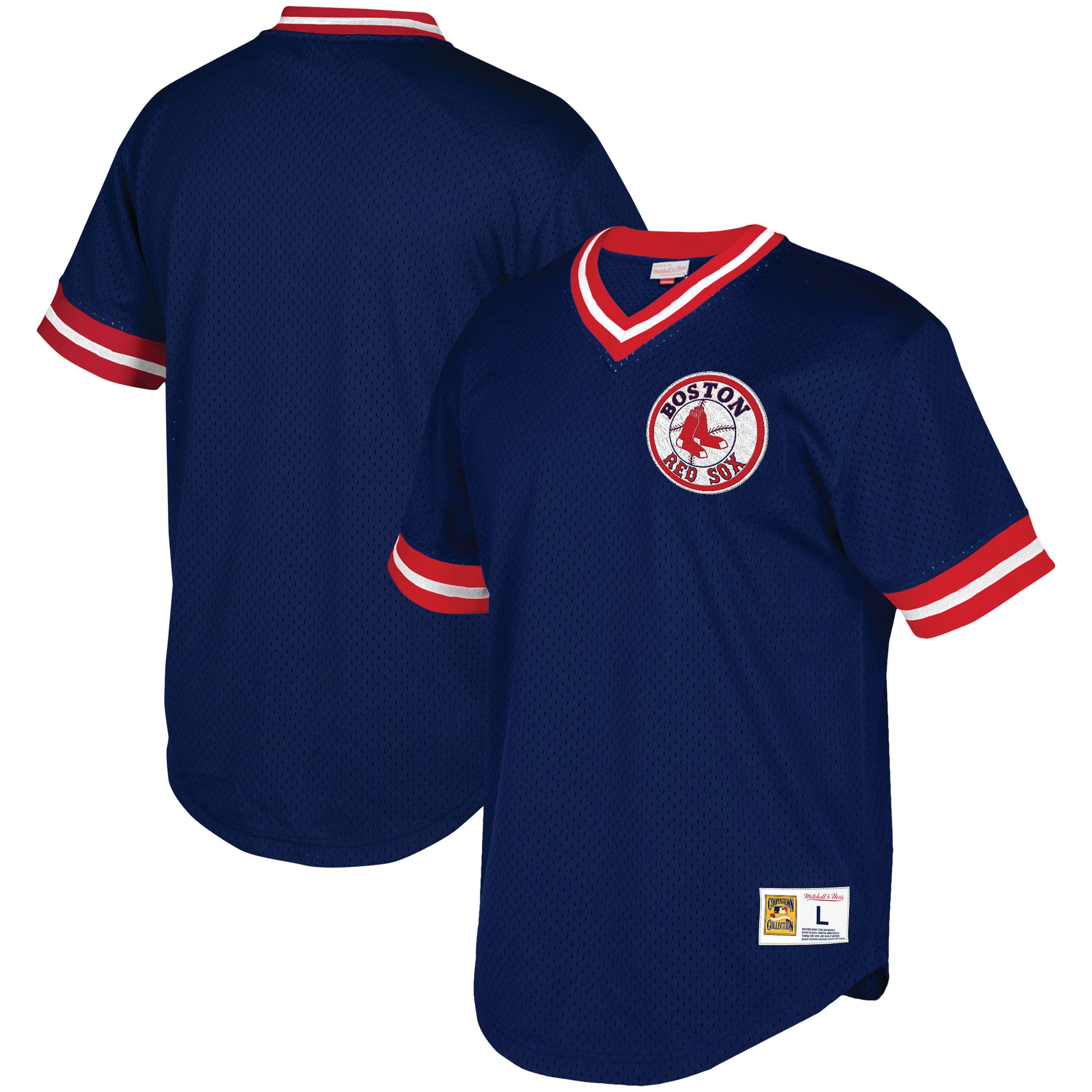 Boston Red Sox Mitchell & Ness Big & Tall Mesh V-Neck Jersey - Navy