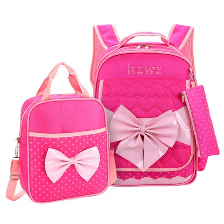 Cute Nylon Princess Student Schoolbag, Coofit Shoulder Backpack with Tote Lunch Bag and Pencil Case for Children Kid Girls (Rosy)