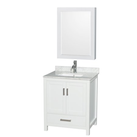 Wyndham Collection Sheffield 30 inch Single Bathroom Vanity in White, White Carrera Marble Countertop, Undermount Square Sink, and Medicine Cabinet