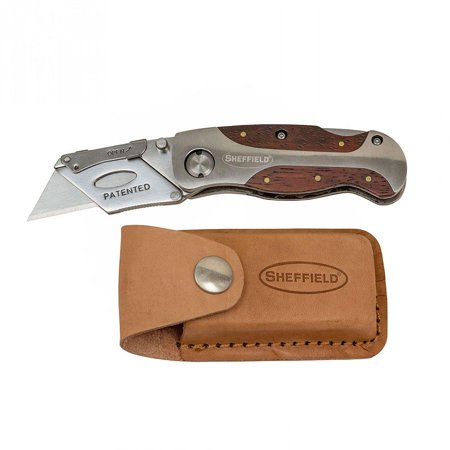 - Sheffield Hardwood Handle Lockback Knife and Leather Sheath