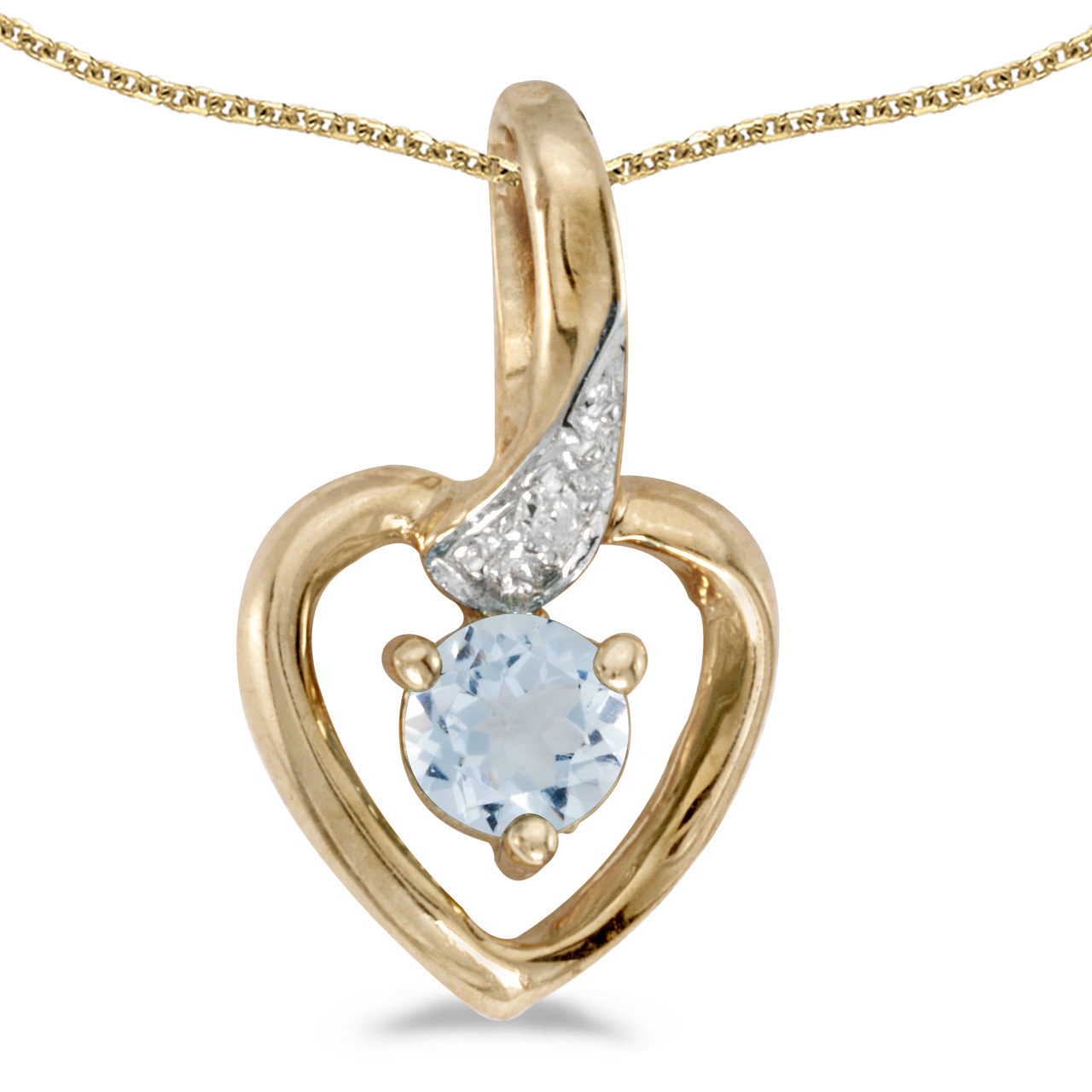 "14k Yellow Gold Round Aquamarine And Diamond Heart Pendant with 18"" Chain by"