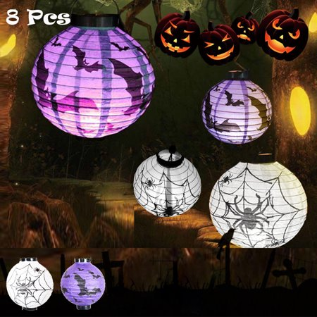 - 8PCS [8''] iClover Halloween Hanging Paper Pumpkin Lantern DIY Spider Bat Skeleton Round Yard Decor Lamp Light for Holiday Party Decoration