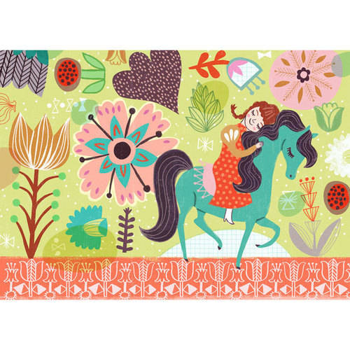 Oopsy Daisy - Horsey Love - Brunette Canvas Wall Art 14x10, Sarah Walsh