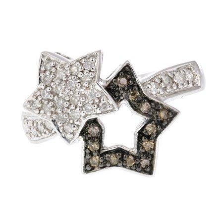 0.25 CT Champagne and White Diamond Fashion Star Ring 14K White Gold Size