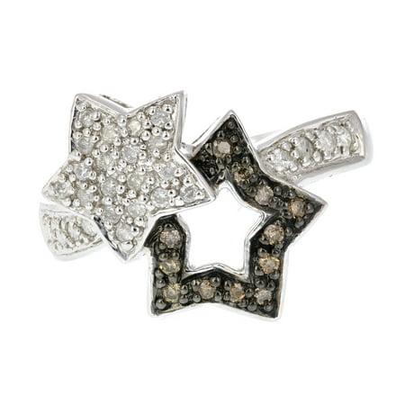 0.25 CT Champagne and White Diamond Fashion Star Ring 14K White Gold Size 6