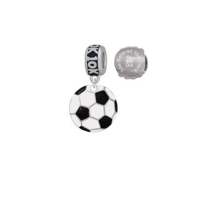 3/4'' Enamel Soccer ball 10K Run She Believed She Could Charm Beads (Set of - Soccer Ball 10k Charm