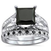 Noori 18k White Gold 4 1/10ct UGL-certified Black Princess-cut Diamond Engagement Bridal Ring Set Size-8.5