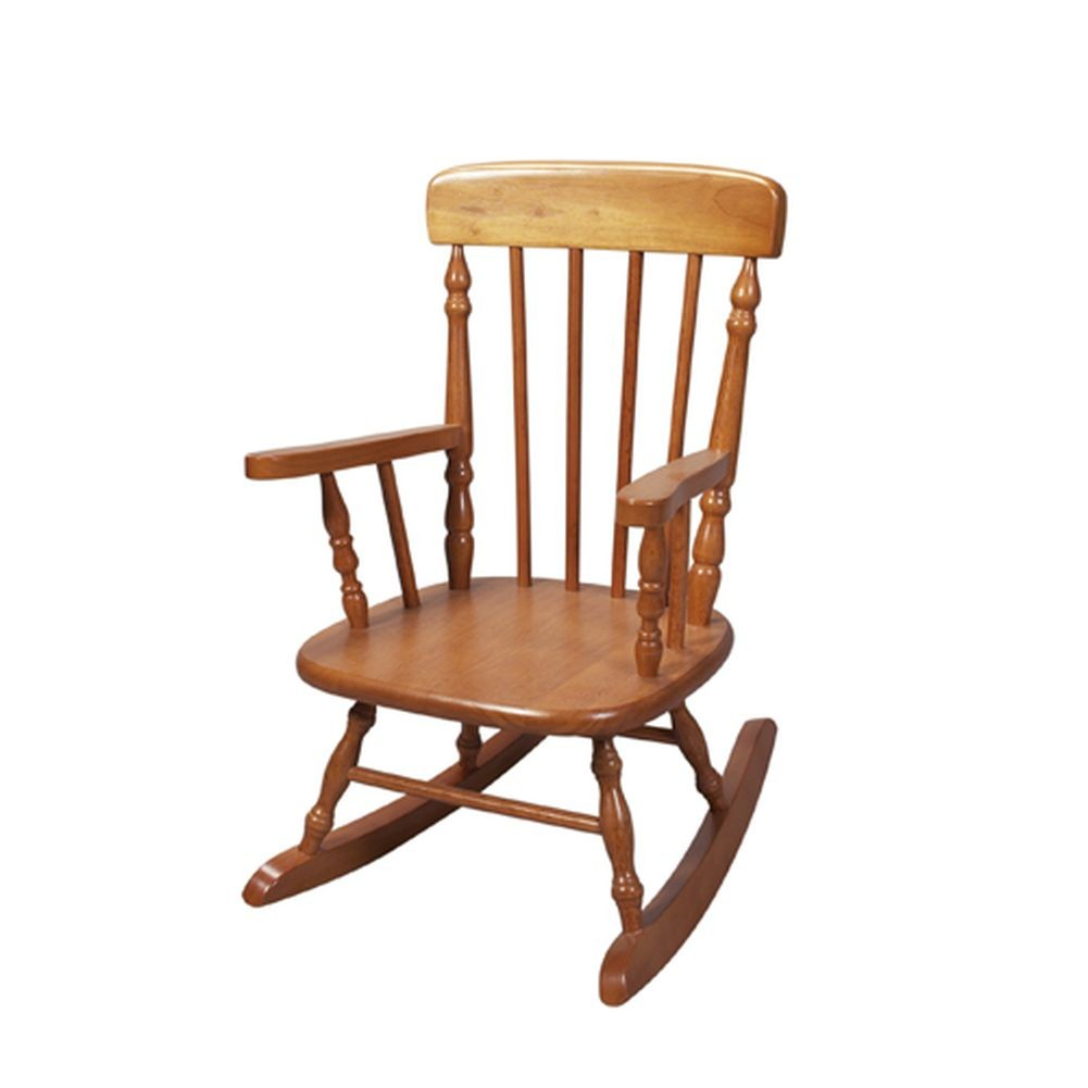 GiftMark Honey Finish Wooden Classic Childrens Rocking Chair