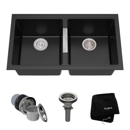 Kraus 33 Inch Undermount 50 Double Bowl Black Onyx Granite Kitchen Sink