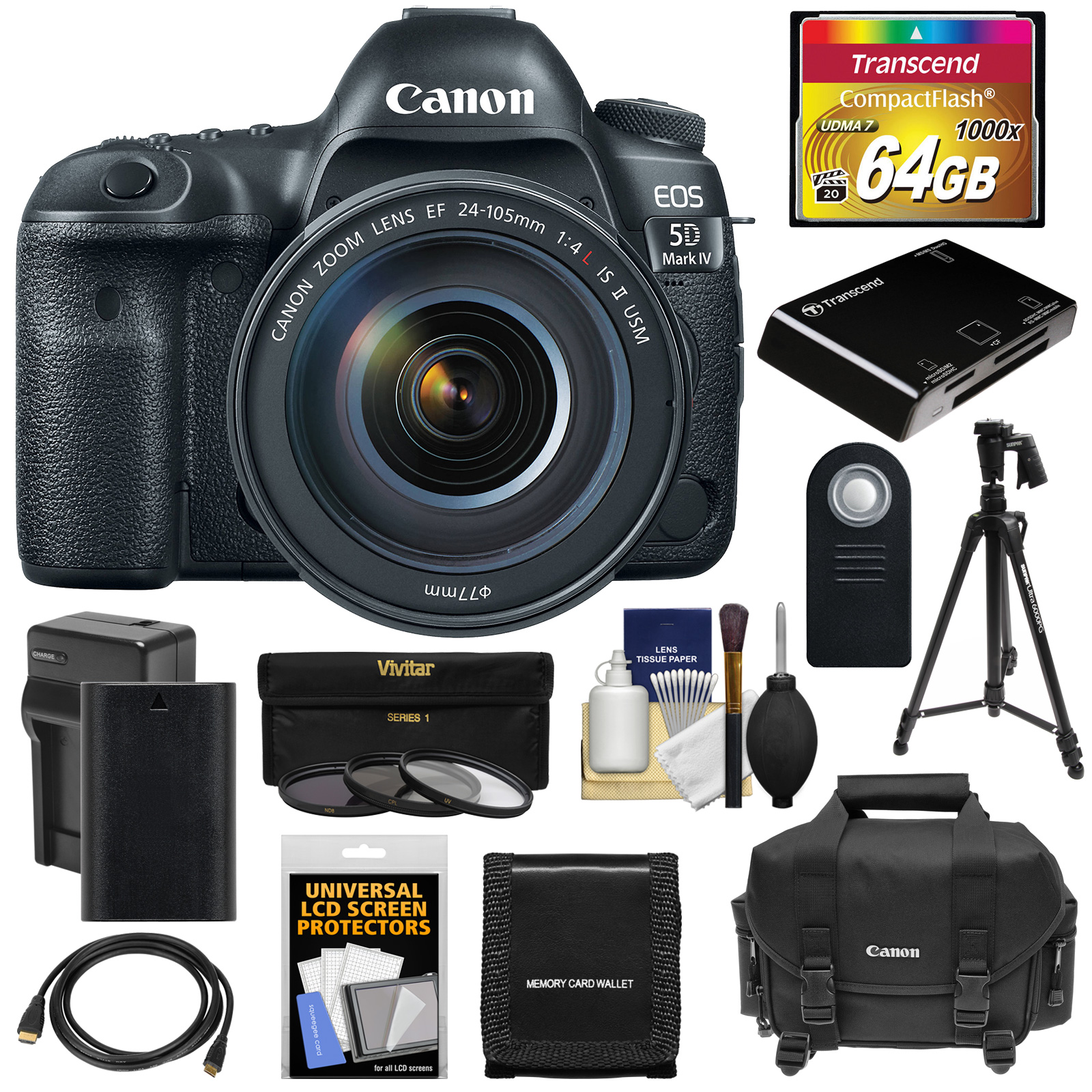 Canon EOS 5D Mark IV 4K Wi-Fi Digital SLR Camera & EF 24-105mm f 4L IS II USM Lens with 64GB Card + Battery &... by Canon