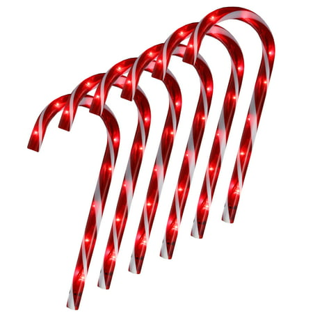 Set of 6 Lighted Blinking Outdoor Candy Cane Christmas Pathway - Christmas Outdoor Decor
