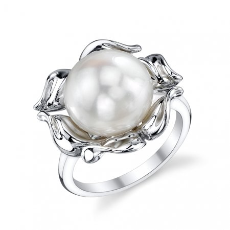 10 Mm Pearl Ring - 10mm White Freshwater Cultured Pearl Wave Ring