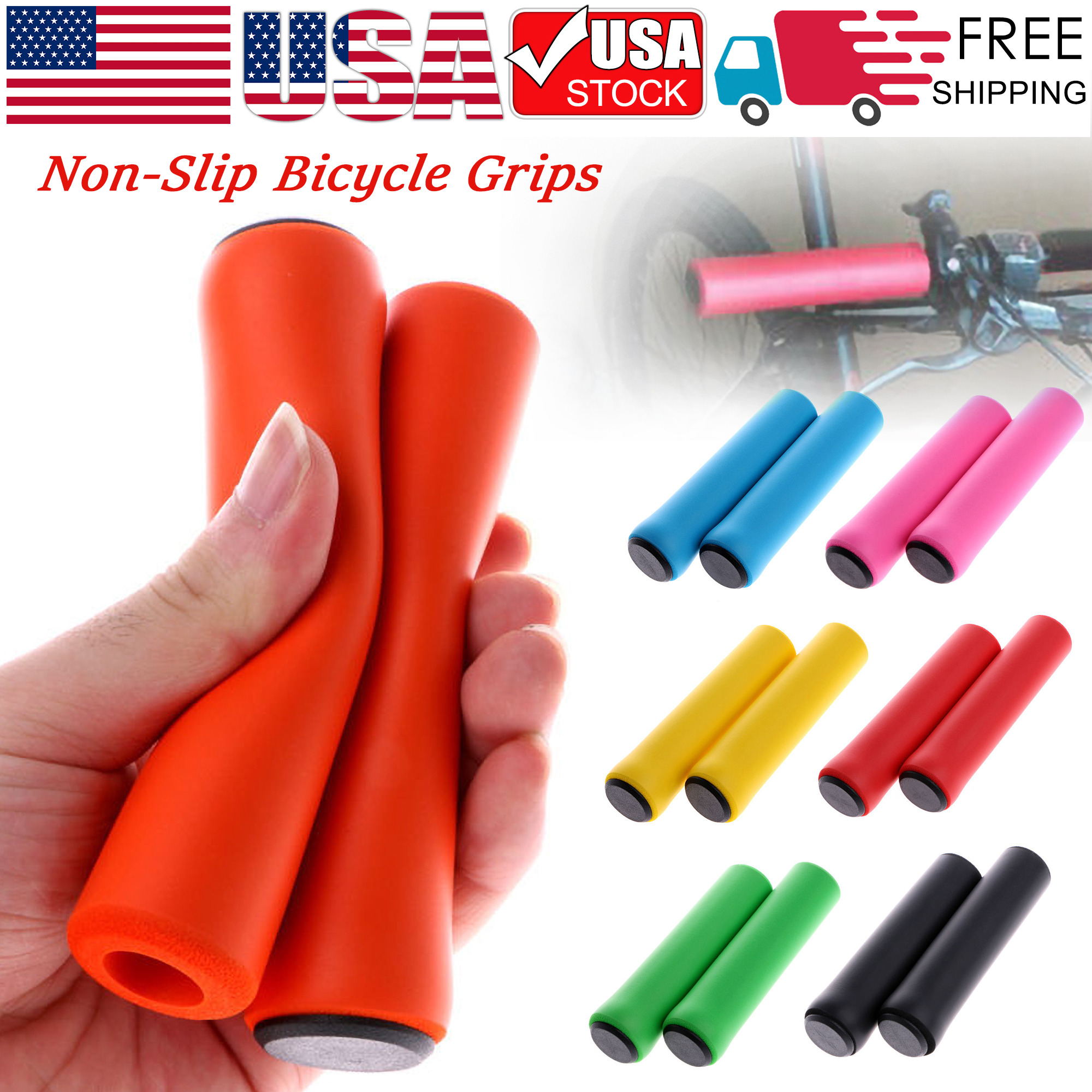 1 Pair MTB Mountain Bike Bicycle Handlebar Rubber Grips Cycling Lock-On Ends