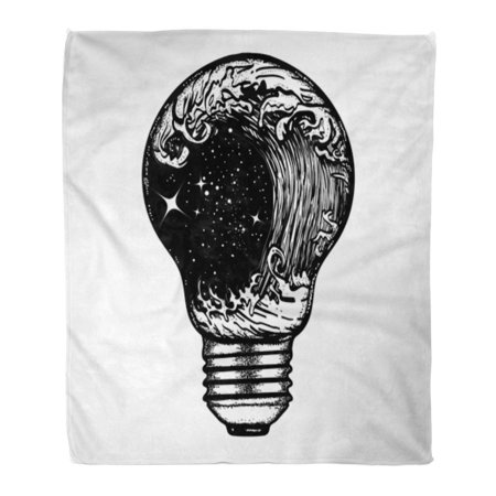 ASHLEIGH Throw Blanket Warm Cozy Print Flannel Storm in Light Bulb Tattoo Great Outdoors Tsunami Waves Symbol of Adventures Comfortable Soft for Bed Sofa and Couch 50x60