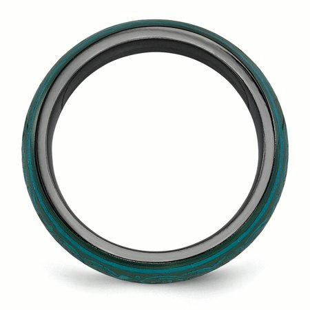 Edward Mirell Black Ti Domed Anodized Teal 6mm Band Size 7 - image 2 de 4