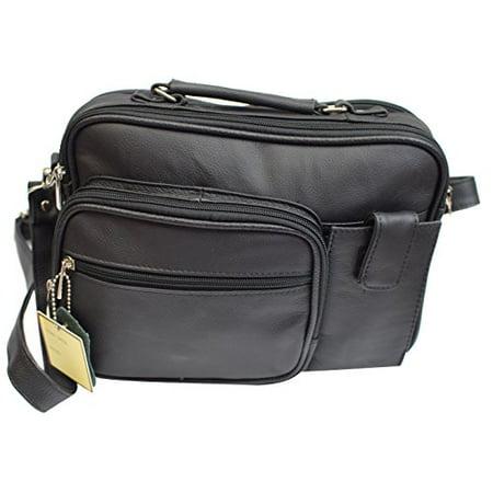 Roma Genuine Leather Organizer Bag Handbag Purse (Black)