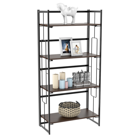 4 Tier Folding Bookcase Vintage Bookshelf Multifunctional Vintage Ladder Metal Frame Book Storage Holder Shelf