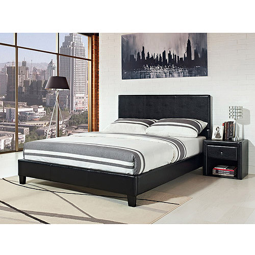 stratus eastern king upholstered bed, black faux leather - walmart