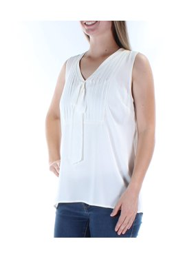 6dfd583983 Free shipping. Product Image MAISON JULES Womens Ivory Sleeveless V Neck  Top Size: M