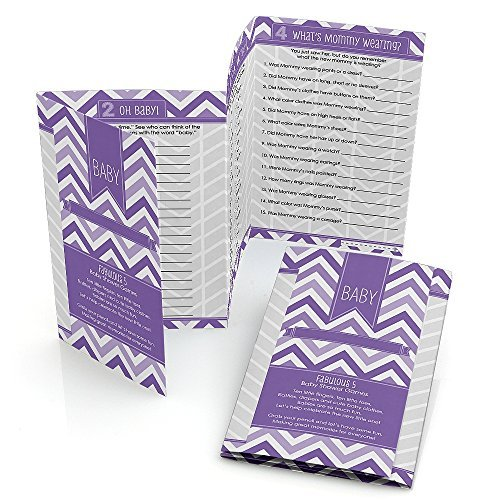 Chevron Purple - Baby Shower Games Pack - 5 Games in 1 - Fabulous 5 - Set of 12