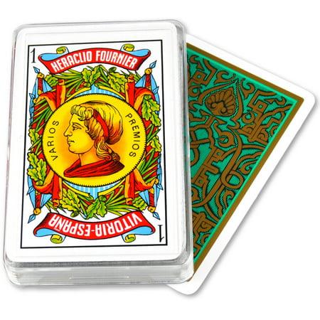 - Fournier Spanish Playing Cards Double Face Plastic Case Deck 50 - Baraja Espanola Green