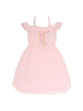 e065268e84ae9 Product Image Dollhouse Girls Pink Pinstripe Off-Shoulder Ruffle Casual  Dress