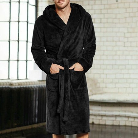 Mens Black Robe (New Mens Fleece Towelling Dressing Gown Robe Bath Bathrobe Warm Winter Black Size)