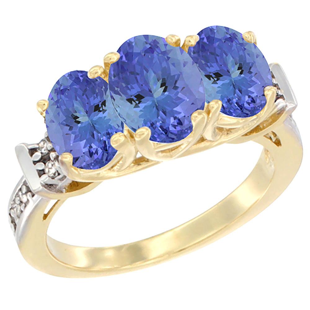 14K Yellow Gold Natural Tanzanite Ring 3-Stone Oval Diamond Accent, size 5 by Gabriella Gold