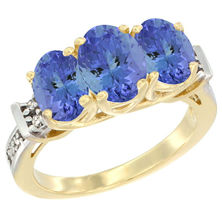 - 14K Yellow Gold Natural Tanzanite Ring 3-Stone Oval Diamond Accent, size 5