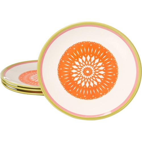 """Simplemente Delicioso Orinda 8.25"""" Dessert Plates, Orange, Set of 4"""