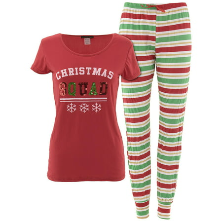 34cd9e234d348 Not A Morning Person Juniors Christmas Squad Red Pajamas