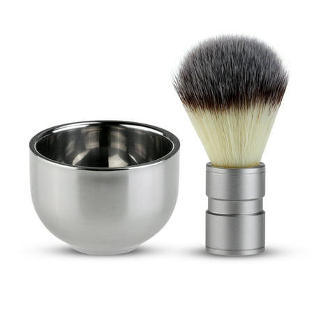 TINKSKY Badger Hair Shaving Brush with Double Layer Stainless Steel Shave Bowl